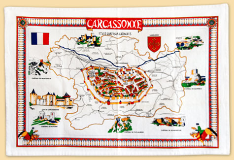 tea towel : plan of the city and castles of the Aude - Regional guide - Cité of Carcassonne & Languedoc-Roussillon