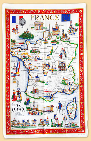 tea towel : map of France and its main monuments - Regional guide - Cité of Carcassonne & Languedoc-Roussillon